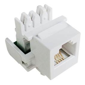 3 Peças Do Conector Fêmea Rj11 Telefonia Cat3 4 Vias Branco