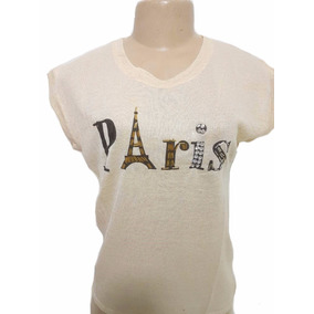 02 Camiseta Blusa Desenho Paris Manga Curta De Viscolycra