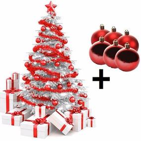 Arvore De Natal Branca 2,10 Pinheiro + 24 Bolas Vermelhas