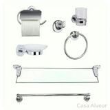 Set Kit Accesorios Baño 7 Piezas C/repisa De Vidrio Tauro