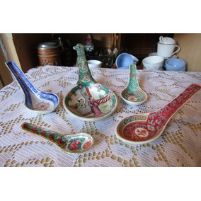 Lote 5 Cucharas Porcelana Oriental Decorativas Oferta!