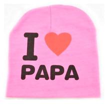Gorrito Para El Frio I Love Mama/ Papa Gorro Para Bebe
