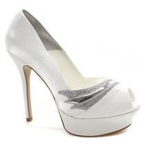 Sapato De Noiva Branco Laura Porto Peep Toe Mt9527 | Zariff