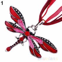 Collar De Tela Dije Libelula Rojo Piedras Cristal Mama