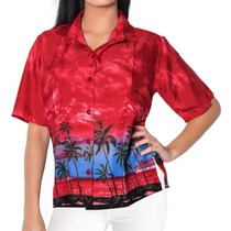 Camisa La Leela Likre Para Mujer Con Playa, Mar Y Nubes Roja