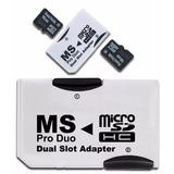 Adaptador Ms Pro Duo Doble Memoria Micro Sd Hc Psp Sony /e