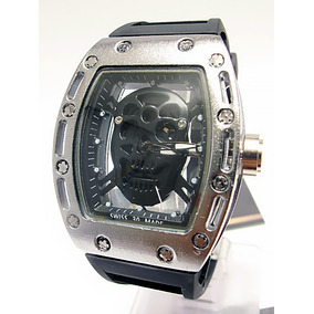 Reloj Skeleton Craneo Richard M I L L E Skull Plateado Negro