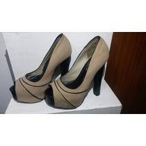 Zapatos De Tacón Alto Beige Mostaza Con Negro