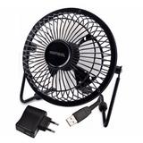 Ventilador Usb Portátil 10cm Silencioso Pc Tv + Adaptador