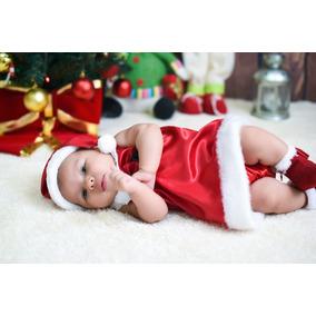 Vestido Cetim Mamãe Noel Bebê Com Gorrinho De Natal