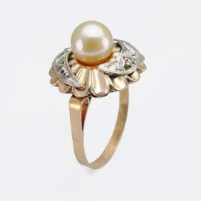 Anel Antigo Ouro Amarelo 16k, Pérola, Diamantes #9495