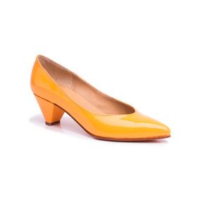 Natacha Zapato Mujer Stiletto Bajo Charol Caramelo #3882