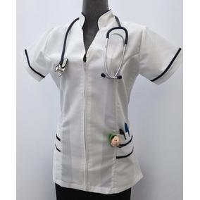 Filipina Para Enfermeria Cuello Mao Con Bies Azul Marino