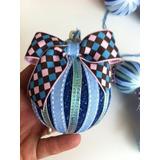 Kit 7 Bolas Natal Tam M Decoradas Azul Glitter Luxo
