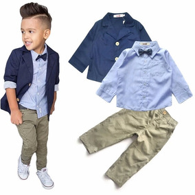 Conjunto Traje Formal Para Bebé Niño Camisa Pantalon Saco