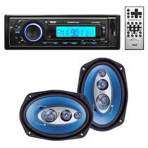 Pyle Combo Estereo Mp3 Bluetooth Usb + Parlantes 6x9 4 Vias