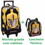 Mochila Transformers G Rodinhas 3d + Lancheira Original
