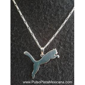 Dije Plata Ley 925, Animal Puma Liso Con Cadena 50 Cm.
