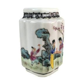 Antigo Vasinho Porcelana Chinesa Assinado Pintado A Mão