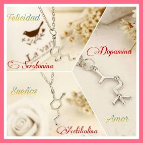 Collar Mujer Regalo Amor Novia Molécula Serotonina Dopamina