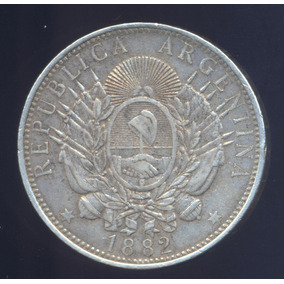 1 $ Peso 1882 Patacon Argentina Plata Mb+ Km 29 Moneda Plata