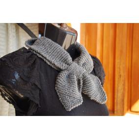 Bufanda Crochet De Moño Gris