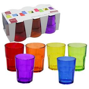 Jogo De Copos De Vidro Coloridos 254 Ml 06 Peças Wincy