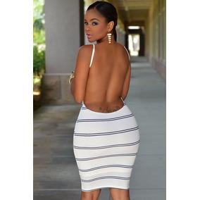 Sexy Mini Vestido Blanco Franjas Negro Espalda Desnuda 22333