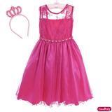 Vestido Princesa Barbie Pink Festa Infantil Daminha Coroa