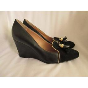 Zapatos De Plataforma En Cuero Negro Marca Velez Talla 40