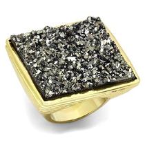 Anel Quadrado Pedra Drusa Folheado A Ouro 18k - Luxo