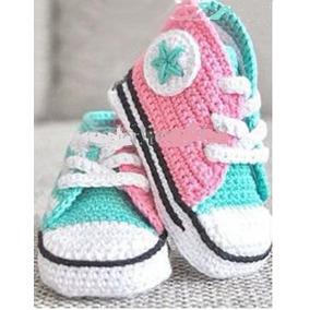Tenis Zapato Tejido A Mano De Bebe Al Ganchillo 0- 6 M