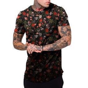 Camiseta Masculina Camisa Longline Floral E Caveiras Top 4d2099b3f25