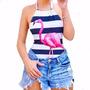 Body Tipo Maiô Estampa Flamingo Cisne Verão 2017 Oferta