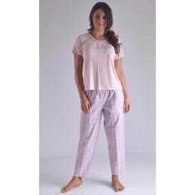 Pijama Pantalon Largo A Cuadros Blusa Femenina Mujer C4125