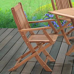 Cadeira Dobrável Com Braços Para Áreas Externas Em Madeira E
