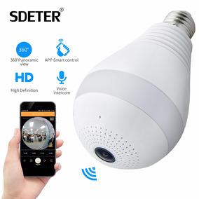 Lâmpada Espiã Câmera Ip Led Wifi Hd Panorâmica Vr 360º