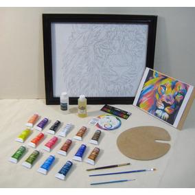 Set Pintura, 16 Oleos, Kit Arte, Pintar León, Con Marco