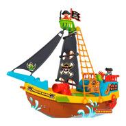 Brinquedo Barco Pirata Com Rodinhas Maral  23 Peças