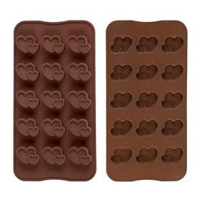 Forma De Silicone P/ 15 Bombons Chocolate Corações
