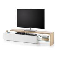 Mueble De Tv Moderno Ref: Fantasy Lacado  Y Madera Natural