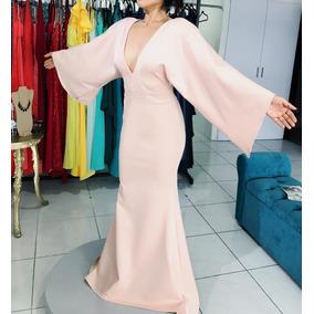 Vestido Rosa Largo Noche Tipo Kimono Red Carpet Gdl