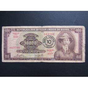 Cédula Antiga C128 Nota10000 Santos Dumot Com Carimbo Mbc 42