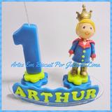 Vela Topo De Bolo Personalizada Rei Arthur
