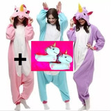 Kit Pijama + (pantufa 3d Unicórnio Tamanho 34 36 38)