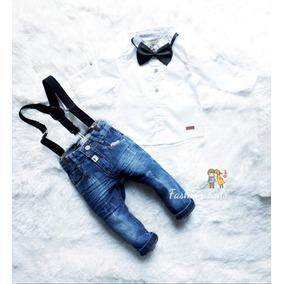 Kit Bebê Calça Jeans + Camisa + Suspensório Com Gravata