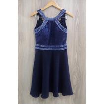 Vestido Evasê Ajustada Bordado Pedrarias Bojo Zíper Azul