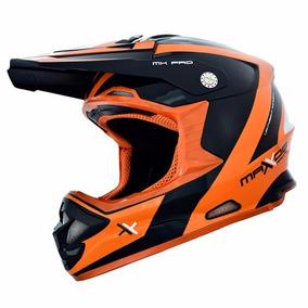 Capacete Moto Cross Mx Pro Preto E Laranja Mattos Racing