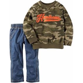 Conjunto Casaco Moleton Camuflado Calça Jeans Carters 12 M