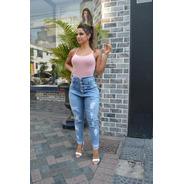 Calça Sol Jeans Skinny Mom Destroyed Com Lycra Azul